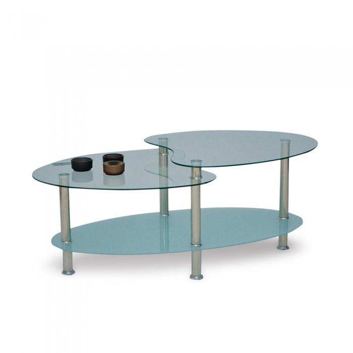 CORAL COFFEE TABLE ΔΙΑΦΑΝΟ/ΑΜΜΟΒΟΛΗ ΑΣΗΜΙ 90x60xH42cm ΓΥΑΛΙΝΑ - ΜΕΤΑΛΛΙΚΑ, insidehome.gr