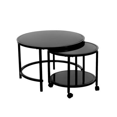 ECLIPSE COFFEE TABLE ΜΑΥΡΟ D70-50xΗ45-40cm
