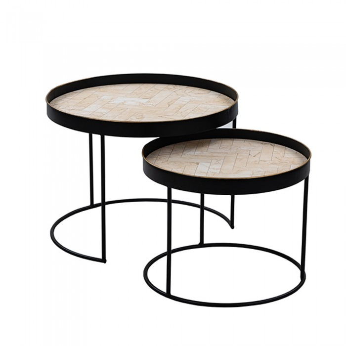 BIZZAR COFFEE TABLE SET 2ΤΕΜ ΛΕΥΚΟ ΜΕ PATTERN ΜΑΥΡΟ D60,5-48,5xH46-39cm ΓΥΑΛΙΝΑ - ΜΕΤΑΛΛΙΚΑ, insidehome.gr