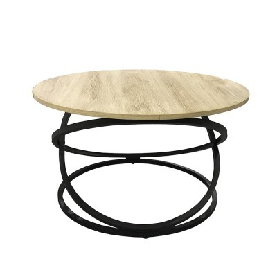 ALTA COFFEE TABLE SONOMA DECAPE ΜΑΥΡΟ D79xH46cm