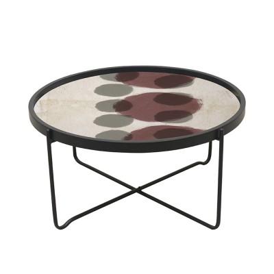 PINK COFFEE TABLE ΠΟΛΥΧΡΩΜΟ ΜΕ PATTERN ΜΑΥΡΟ D75xH37,5cm