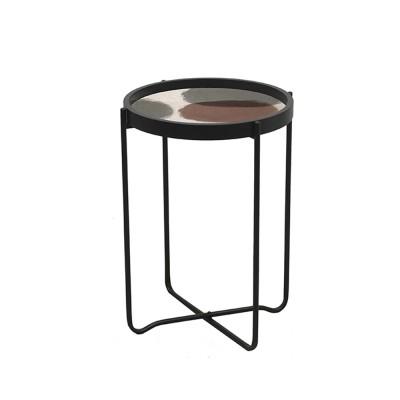 PINK SIDE TABLE ΠΟΛΥΧΡΩΜΟ ΜΕ PATTERN ΜΑΥΡΟ D40xH57,5cm