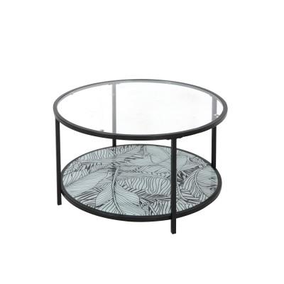 MOON COFFEE TABLE ΔΙΑΦΑΝΟ ΜΕ PATTERN ΜΑΥΡΟ D80xH42cm