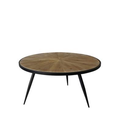 EARTH COFFEE TABLE ΦΥΣΙΚΟ ΜΑΥΡΟ D75xH45cm