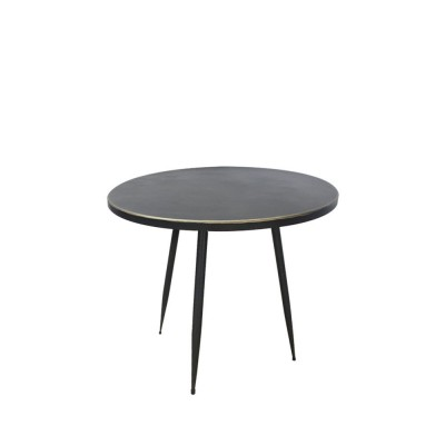 GENIOUS SIDE TABLE ΜΑΥΡΟ ΧΡΥΣΟ D48xH69,5cm