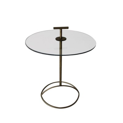VITRO SIDE TABLE ΔΙΑΦΑΝΟ BRASS D50xH65/74cm