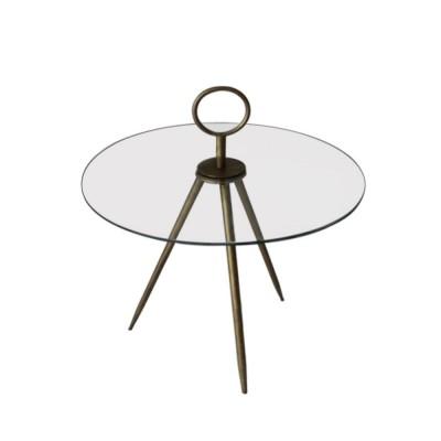 VETRI SIDE TABLE ΔΙΑΦΑΝΟ BRASS D45xH49,5/64cm