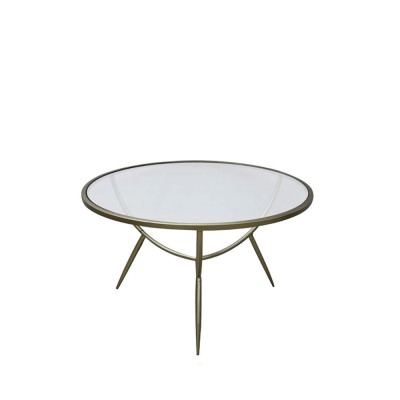 VERO COFFEE TABLE ΔΙΑΦΑΝΟ ΧΡΥΣΟ D75xH49,5cm