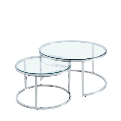 LUSACA COFFEE TABLE ΑΣΗΜΙ ΔΙΑΦΑΝΟ D80/60xH43/38cm