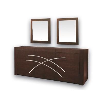 Μπουφές ξύλινος με καθρέπτη