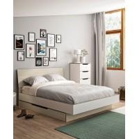 Gray κρεβάτι διπλό 145x202εκ. ( για στρώμα 140x190εκ.) με αποθηκευτικό συρτάρι Light Oak-White
