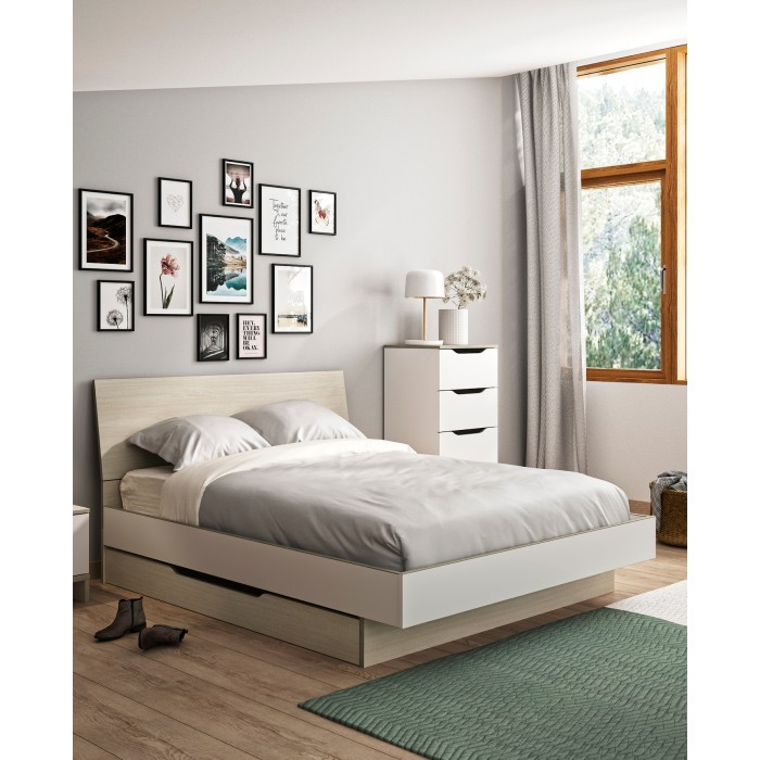 Gray κρεβάτι διπλό 145x202εκ. ( για στρώμα 140x190εκ.) με αποθηκευτικό συρτάρι Light Oak-White ΞΥΛΙΝΑ ΚΡΕΒΑΤΙΑ, insidehome.gr