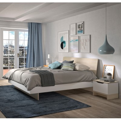 Gray κρεβάτι διπλό 165x212εκ. ( για στρώμα 160x200εκ. ) Light Oak/White