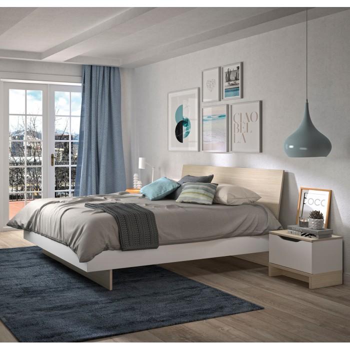 Gray κρεβάτι διπλό 165x212εκ. ( για στρώμα 160x200εκ. ) Light Oak/White  ΞΥΛΙΝΑ ΚΡΕΒΑΤΙΑ, insidehome.gr