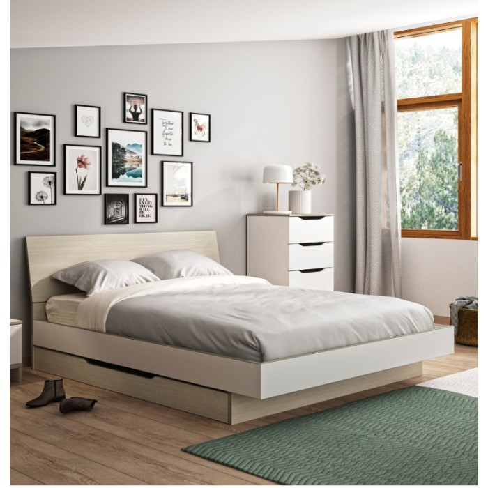 Gray κρεβάτι διπλό 165x212εκ. ( για στρώμα 160x200εκ. ) με αποθηκευτικό συρτάρι Light Oak/White ΞΥΛΙΝΑ ΚΡΕΒΑΤΙΑ, insidehome.gr