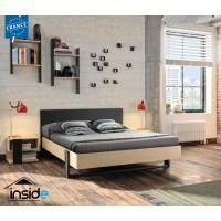 Duplex Σετ 3 τεμαχίων Κρεβάτι Διπλό με 2 κομοδίνα Black/Natural (για στρώμα 140x200εκ. )