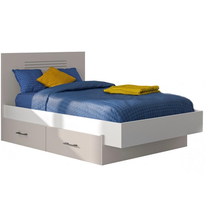 Ugo κρεβάτι ημίδιπλο 129x205 ( για στρώμα 120x200εκ. ) με αποθηκευτικό συρτάρι Moon Grey/White  ΠΑΙΔΙΚΑ ΚΡΕΒΑΤΙΑ , insidehome.gr