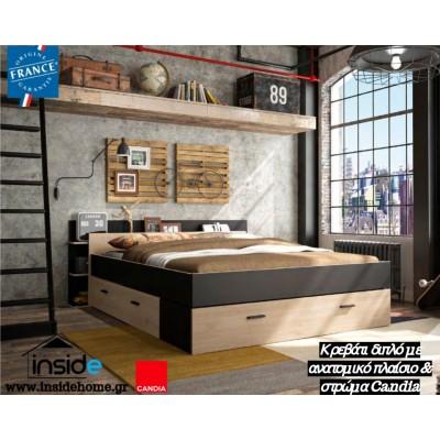 Σετ κρεβάτι διπλό Tonight με ανατομικό πλαίσιο και στρώμα 140x190εκ. Candia