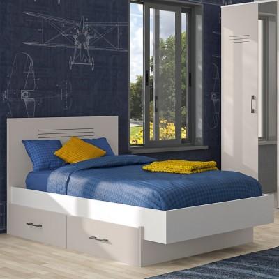 Ugo κρεβάτι ημίδιπλο 129x205 ( για στρώμα 120x200εκ. ) με αποθηκευτικό συρτάρι Moon Grey/White με ανατομικό πλαίσιο