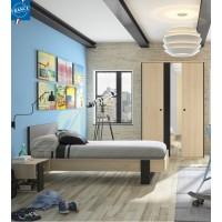 Duplex Σετ 2 τεμαχίων Κρεβάτι Μονό ( για στρώμα 90x200εκ. ) με 1 κομοδίνο Black/Natural Chestnut