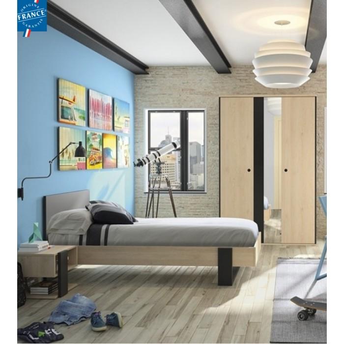 Duplex Σετ 2 τεμαχίων Κρεβάτι μονό με 1 κομοδίνο Black/Natural  , insidehome.gr