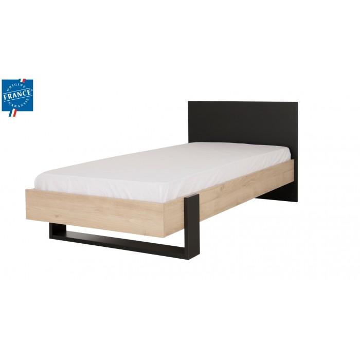 Duplex Κρεβάτι Μονό 100x204εκ. ( για στρώμα 90x200εκ.)  Black/Natural  ΞΥΛΙΝΑ ΚΡΕΒΑΤΙΑ, insidehome.gr