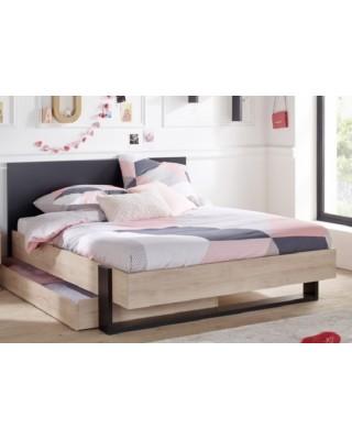 Duplex Κρεβάτι Διπλό με αποθηκευτικό συρτάρι 150x204εκ. (για στρώμα 140x200εκ. ) Black/Natural Chestnut