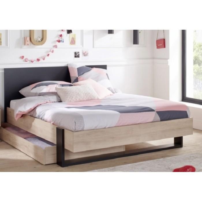 Duplex Κρεβάτι Διπλό με αποθηκευτικό συρτάρι 150x204εκ. (για στρώμα 140x200εκ. ) Black/Natural  ΞΥΛΙΝΑ ΚΡΕΒΑΤΙΑ, insidehome.gr