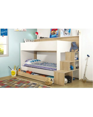 Teotea Κουκέτα παιδική με σκάλα-βιβλιοθήκη & αποθηκευτικό συρτάρι 244x111x158εκ. Sonoma / White