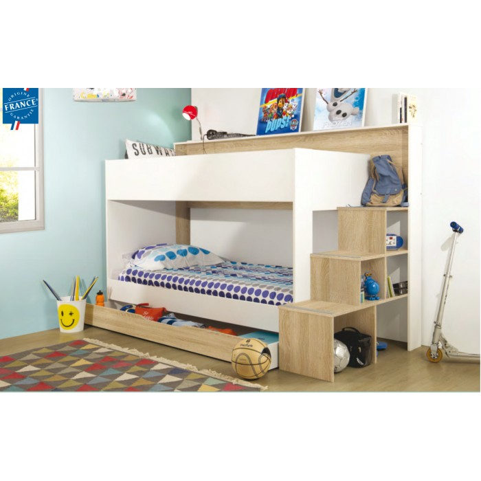 Teotea Κουκέτα παιδική με σκάλα βιβλιοθήκη & αποθηκευτικό συρτάρι 244x111x158εκ. Sonoma / White  , insidehome.gr
