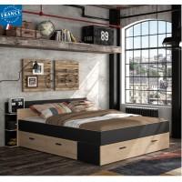Tonight Κρεβάτι διπλό με αποθηκευτικούς χώρους 171x211εκ. ( για στρώμα 140x190εκ. ) Black/Natural Chestnut με ανατομικό πλαίσιο