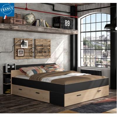 Tonight Κρεβάτι διπλό με αποθηκευτικούς χώρους 171x211εκ. ( για στρώμα 140x190εκ. ) Black/Natural