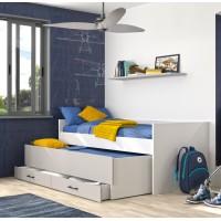 Ugo Κουκέτα χαμηλή με 2 μονά κρεβάτια και αποθηκευτικό συρτάρι 97x205εκ. Moon Grey - White GM05