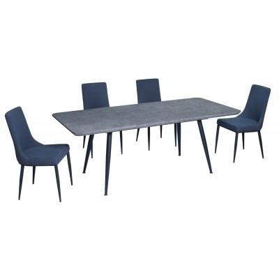 Σετ τραπέζι Rosa Cement 140(180)x80εκ. με 4 καρέκλες Nelly Γκρι