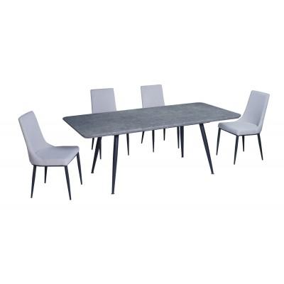 Σετ τραπέζι Rosa Cement 140(180)x80εκ. με 4 καρέκλες Nelly Γκρι Ανοιχτό