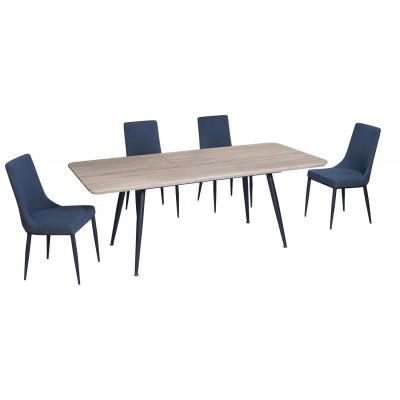 Σετ τραπέζι Rosa Sonoma 140(180)x80εκ. με 4 καρέκλες Nelly Γκρι