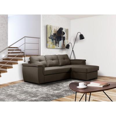 Cayenne Γωνιακός καναπές κρεβάτι 249x160εκ. με αποθηκευτικό χώρο Καφεγκρί