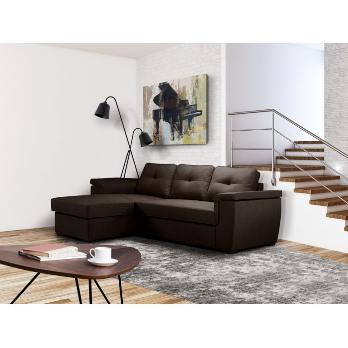 Γωνιακός καναπές κρεβάτι με αποθηκευτικό χώρο Cayenne Καφέ  , insidehome.gr