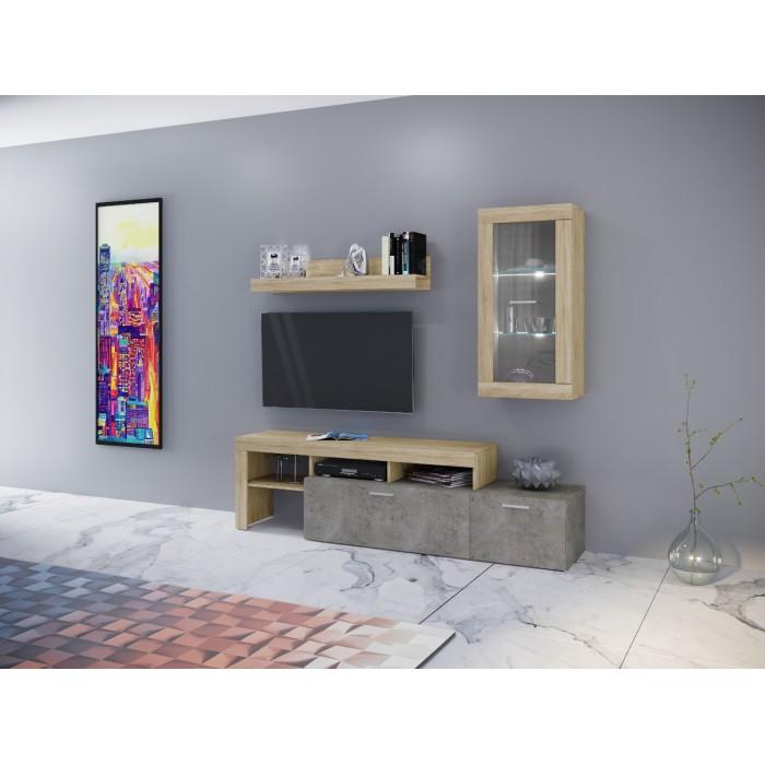 CAPRI Σύνθεση Τοίχου 200x45x197εκ. Sonoma - Light Cement ΣΥΝΘΕΣΕΙΣ ΤΟΙΧΟΥ , insidehome.gr