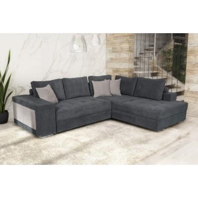 Γωνιακός καναπές κρεβάτι με αποθηκευτικό χώρο & 2 σκαμπό 278x218εκ. MS07 KARINA ΓΚΡΙ ΔΕΞΙΑ ΓΩΝΙΑ