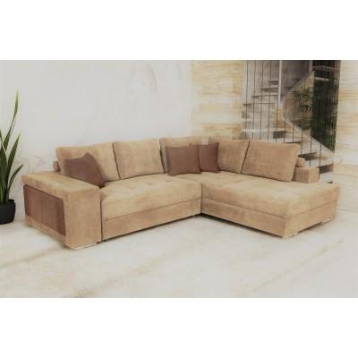 Γωνιακός καναπές κρεβάτι με αποθηκευτικό χώρο & 2 σκαμπό 278x218εκ. MS07 KARINA ΜΠΕΖ ΔΕΞΙΑ ΓΩΝΙΑ