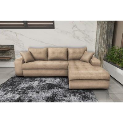 Γωνιακός καναπές κρεβάτι με αποθηκευτικό χώρο 246x190εκ. MS08 VIRGINIA Μπεζ Δεξιά Γωνία
