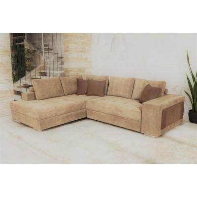 Γωνιακός καναπές κρεβάτι με αποθηκευτικό χώρο & 2 σκαμπό 278x218εκ. MS07 KARINA ΜΠΕΖ ΑΡΙΣΤΕΡΗ ΓΩΝΙΑ