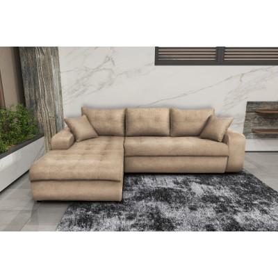 Γωνιακός καναπές κρεβάτι με αποθηκευτικό χώρο 246x190εκ. MS08 VIRGINIA Μπεζ Αριστερή Γωνία ΓΩΝΙΑΚΟΙ ΚΑΝΑΠΕΔΕΣ, επιπλα - insidehome.gr
