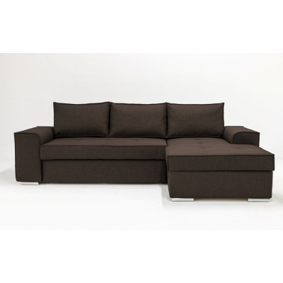 Γωνιακός καναπές κρεβάτι με αποθηκευτικό χώρο 271x163εκ. CORFU NV03 Καφέ Δεξιά Γωνία
