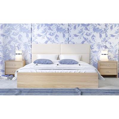Κρεβάτι ξύλινο διπλό POL06 160χ200εκ. Latte