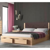 Κρεβάτι διπλό ξύλινο με 2 συρτάρια  KW533S Sonoma με καφέ τεχνόδερμα 140x200ΕΚ.