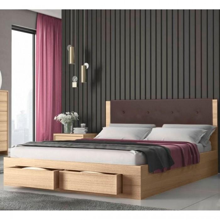 Κρεβάτι διπλό ξύλινο με 2 συρτάρια  KW533S Sonoma με καφέ τεχνόδερμα 140X200ΕΚ. ΞΥΛΙΝΑ ΚΡΕΒΑΤΙΑ, insidehome.gr