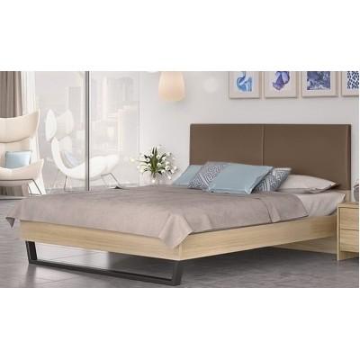 Κρεβάτι διπλό POL07 Λάττε-Taupe 174x208εκ. ( για στρώμα 160x200εκ. )
