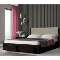 Κρεβάτι διπλό ξύλινο με 2 συρτάρια KW533W Βέγγε με μπεζ τεχνόδερμα 140x200εκ.